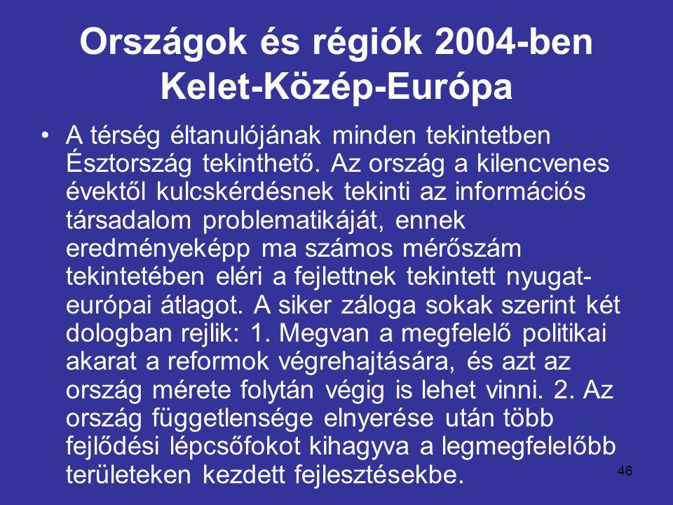 46 Országok és régiók 2004-ben Kelet-Közép-Európa •A térség éltanulójának minden tekintetben Észtország tekinthető. Az ország a kilencvenes évektől ku