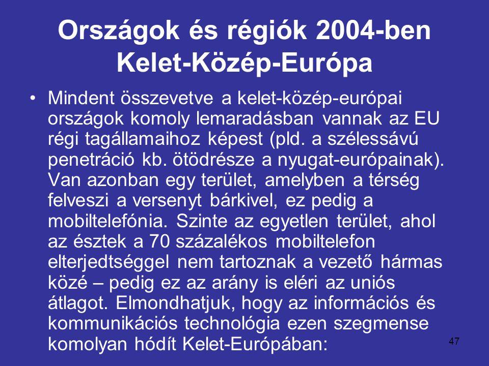 47 Országok és régiók 2004-ben Kelet-Közép-Európa •Mindent összevetve a kelet-közép-európai országok komoly lemaradásban vannak az EU régi tagállamaihoz képest (pld.