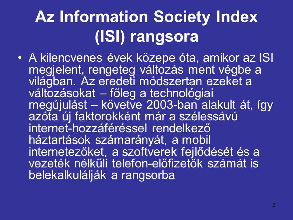 5 Az Information Society Index (ISI) rangsora •A kilencvenes évek közepe óta, amikor az ISI megjelent, rengeteg változás ment végbe a világban. Az ere