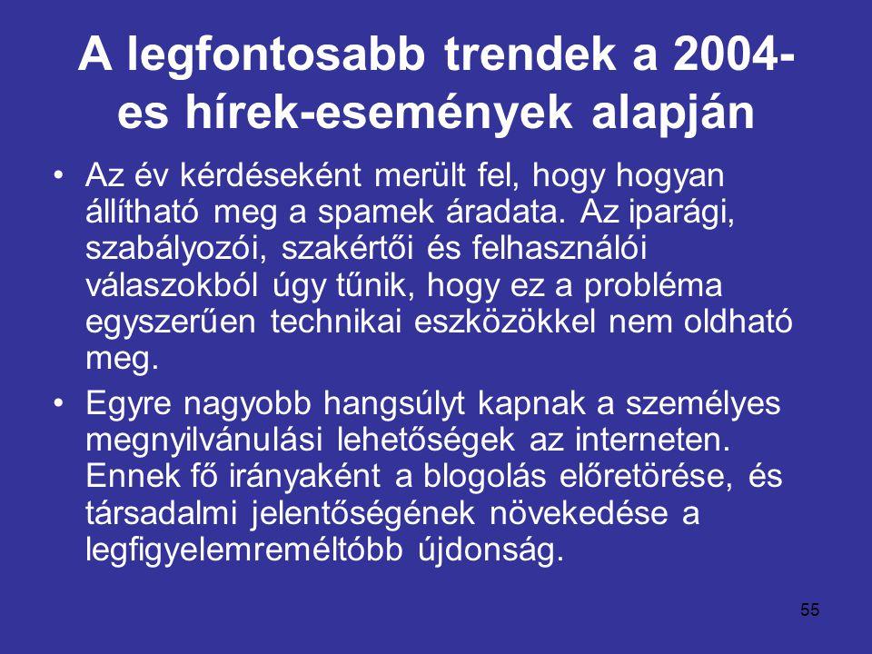 55 A legfontosabb trendek a 2004- es hírek-események alapján •Az év kérdéseként merült fel, hogy hogyan állítható meg a spamek áradata. Az iparági, sz