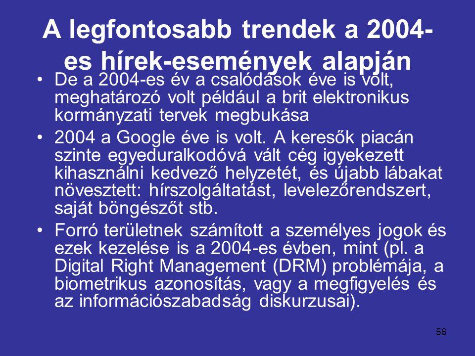 56 A legfontosabb trendek a 2004- es hírek-események alapján •De a 2004-es év a csalódások éve is volt, meghatározó volt például a brit elektronikus kormányzati tervek megbukása •2004 a Google éve is volt.