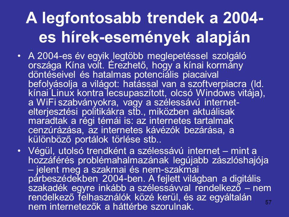 57 A legfontosabb trendek a 2004- es hírek-események alapján •A 2004-es év egyik legtöbb meglepetéssel szolgáló országa Kína volt. Érezhető, hogy a kí