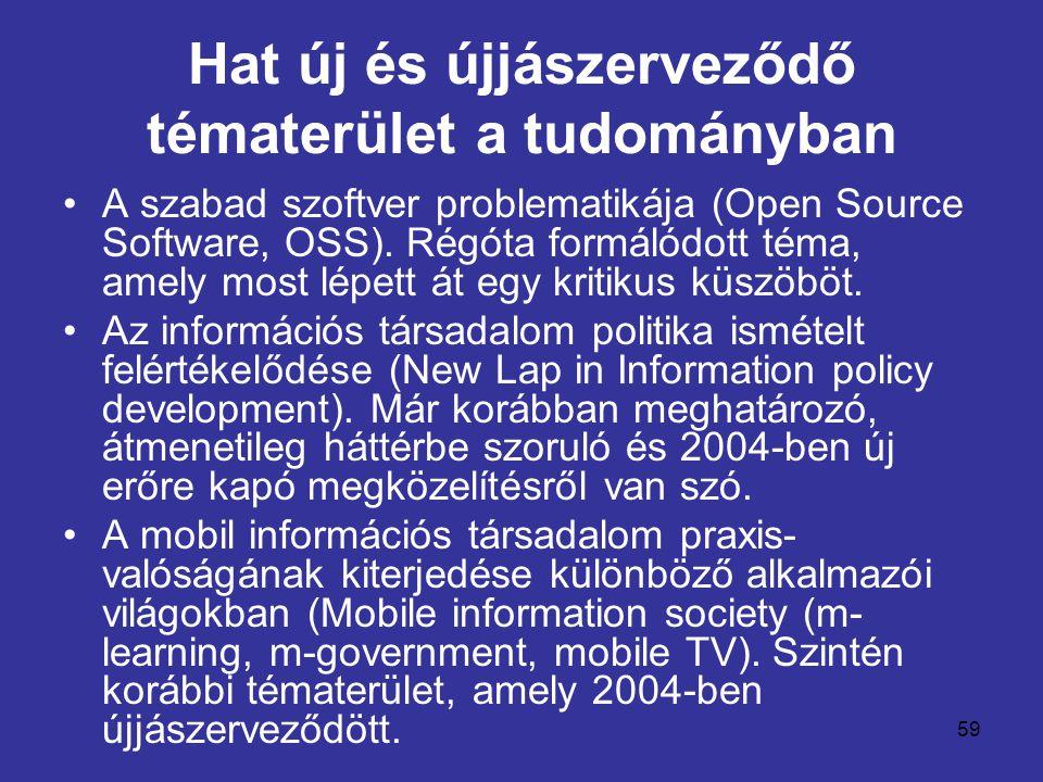 59 Hat új és újjászerveződő tématerület a tudományban •A szabad szoftver problematikája (Open Source Software, OSS). Régóta formálódott téma, amely mo