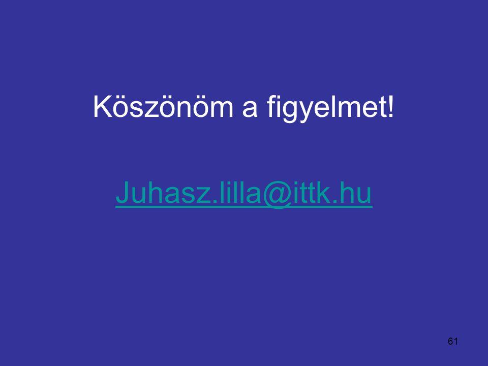 61 Köszönöm a figyelmet! Juhasz.lilla@ittk.hu