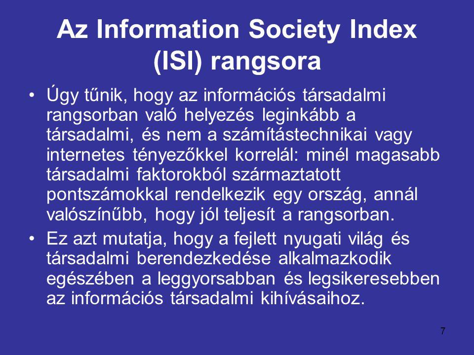 7 •Úgy tűnik, hogy az információs társadalmi rangsorban való helyezés leginkább a társadalmi, és nem a számítástechnikai vagy internetes tényezőkkel k