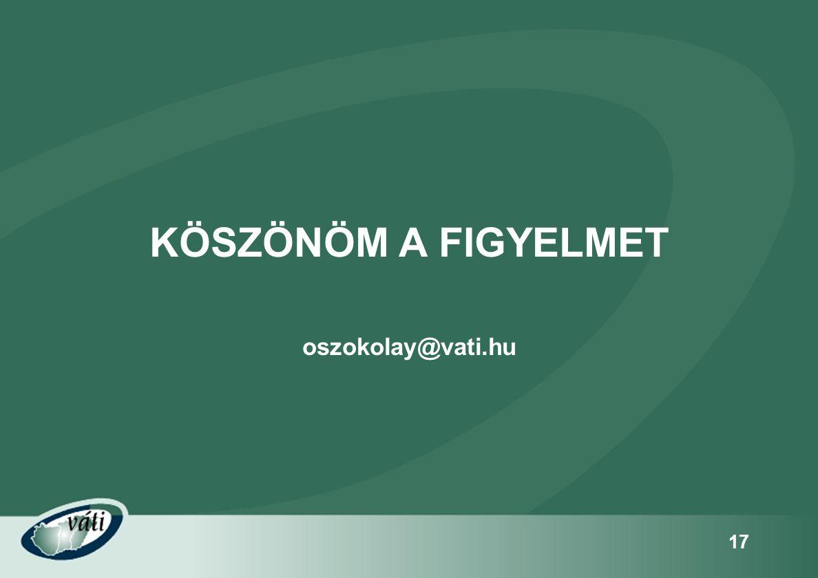 17 KÖSZÖNÖM A FIGYELMET oszokolay@vati.hu