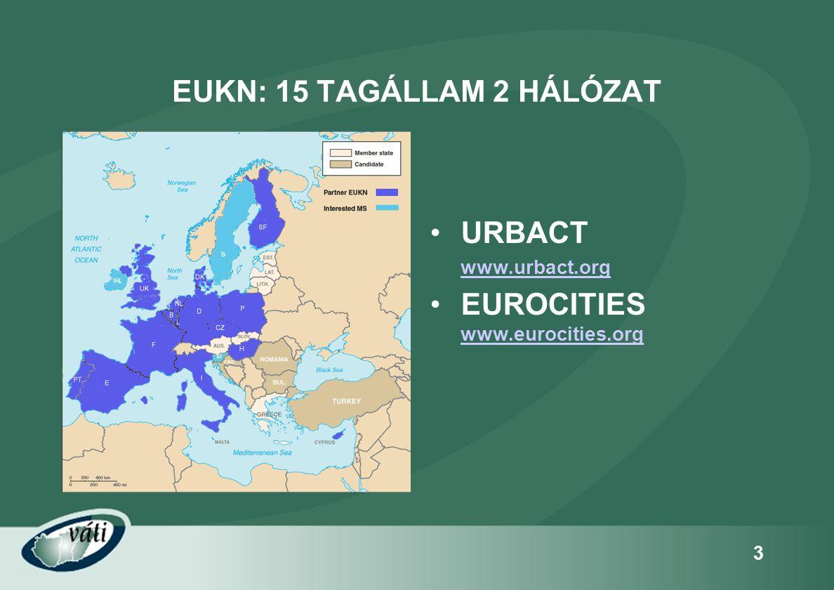 4 AZ EUKN CÉLKITŰZÉSE •www.eukn.org alap infrastruktúrawww.eukn.org •a várospolitika összes területét érintő tudás gyűjtése, terjesztése •az összegyűjtött, feldolgozott tudásanyag praktikus, felhasználóbarát megismertetése •a tapasztalatok, módszerek megosztása •hatékony várospolitika megteremtéséhez való hozzájárulás
