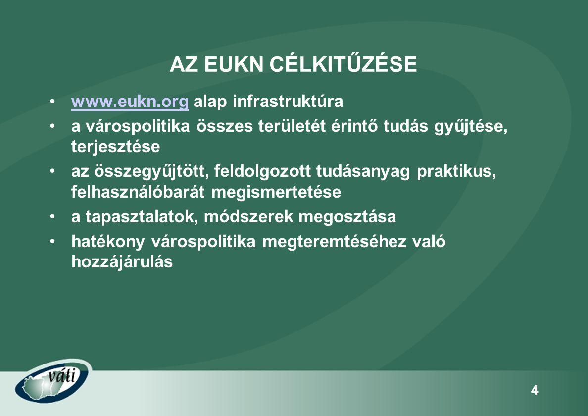 4 AZ EUKN CÉLKITŰZÉSE •www.eukn.org alap infrastruktúrawww.eukn.org •a várospolitika összes területét érintő tudás gyűjtése, terjesztése •az összegyűj