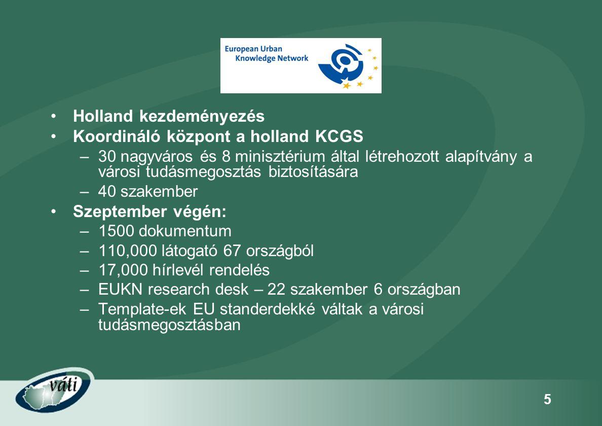 5 •Holland kezdeményezés •Koordináló központ a holland KCGS –30 nagyváros és 8 minisztérium által létrehozott alapítvány a városi tudásmegosztás bizto