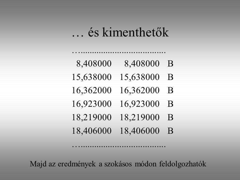 … és kimenthetők …..................................... 8,408000 8,408000B 15,63800015,638000B 16,36200016,362000B 16,92300016,923000B 18,21900018,219