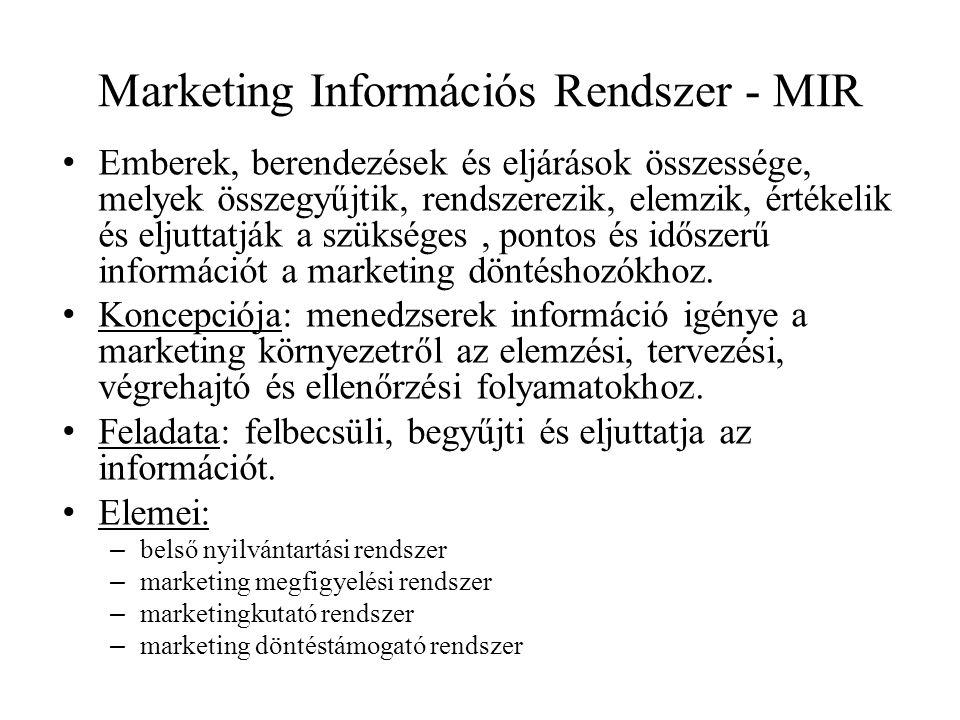 Marketing Információs Rendszer - MIR • Emberek, berendezések és eljárások összessége, melyek összegyűjtik, rendszerezik, elemzik, értékelik és eljuttatják a szükséges, pontos és időszerű információt a marketing döntéshozókhoz.