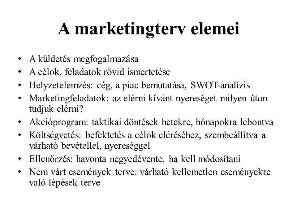 A marketingterv elemei •A•A küldetés megfogalmazása •A•A célok, feladatok rövid ismertetése •H•H elyzetelemzés: cég, a piac bemutatása, SWOT-analízis •M•M arketingfeladatok: az elérni kívánt nyereséget milyen úton tudjuk elérni.
