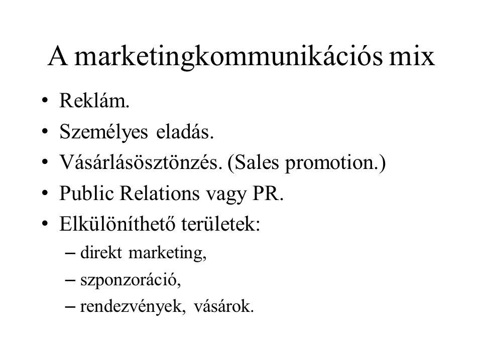 A marketingkommunikációs mix • Reklám.• Személyes eladás.