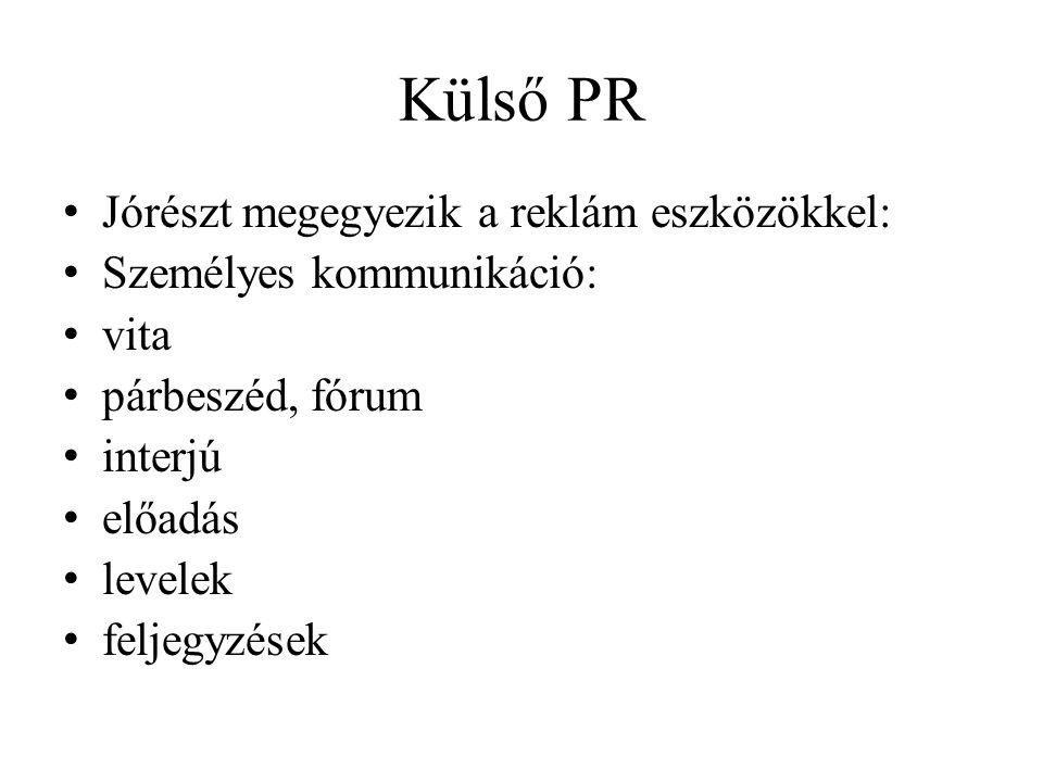 Külső PR • Jórészt megegyezik a reklám eszközökkel: • Személyes kommunikáció: • vita • párbeszéd, fórum • interjú • előadás • levelek • feljegyzések
