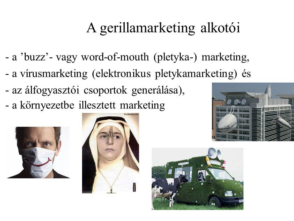 A gerillamarketing alkotói - a 'buzz'- vagy word-of-mouth (pletyka-) marketing, - a vírusmarketing (elektronikus pletykamarketing) és - az álfogyasztói csoportok generálása), - a környezetbe illesztett marketing