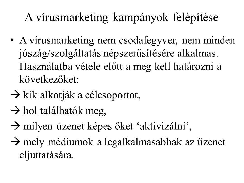 A vírusmarketing kampányok felépítése • A vírusmarketing nem csodafegyver, nem minden jószág/szolgáltatás népszerűsítésére alkalmas.