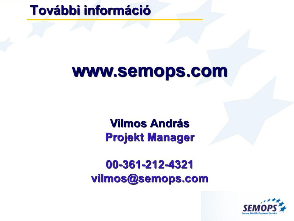 13 További információ www.semops.com Vilmos András Projekt Manager 00-361-212-4321vilmos@semops.com