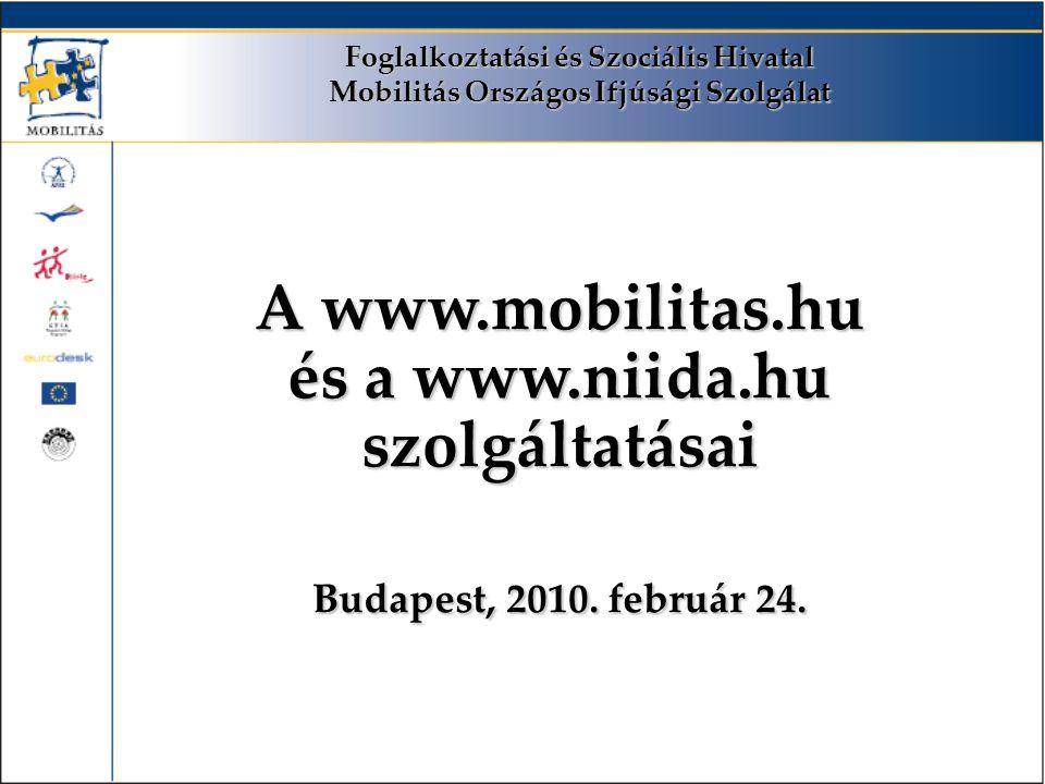 Foglalkoztatási és Szociális Hivatal Mobilitás Országos Ifjúsági Szolgálat A www.mobilitas.hu és a www.niida.hu szolgáltatásai Budapest, 2010.