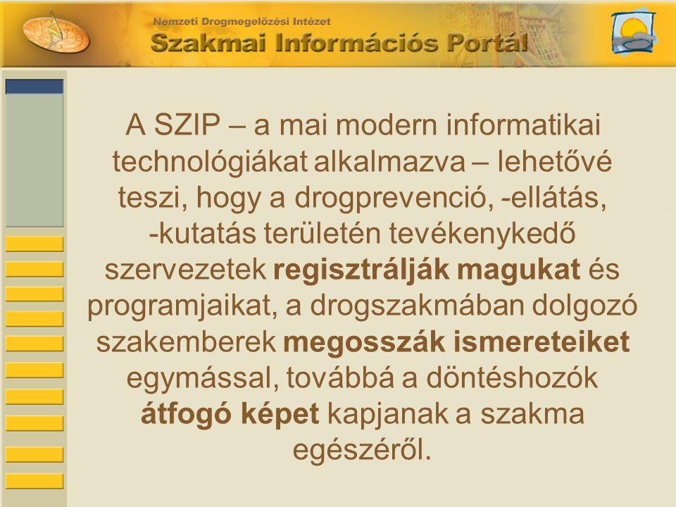 A SZIP – a mai modern informatikai technológiákat alkalmazva – lehetővé teszi, hogy a drogprevenció, -ellátás, -kutatás területén tevékenykedő szervezetek regisztrálják magukat és programjaikat, a drogszakmában dolgozó szakemberek megosszák ismereteiket egymással, továbbá a döntéshozók átfogó képet kapjanak a szakma egészéről.