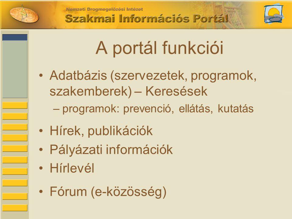 A portál funkciói •Adatbázis (szervezetek, programok, szakemberek) – Keresések –programok: prevenció, ellátás, kutatás •Hírek, publikációk •Pályázati információk •Hírlevél •Fórum (e-közösség)