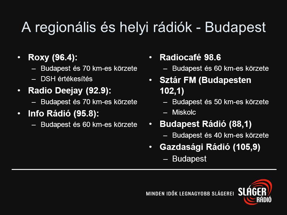 Hálózatos rádiók •Juventus: –Amerikai modell szerint – csak részleges corporate identity –~43%-os lefedettség –4 vidéki állomás hálózata 2001-től •Rád