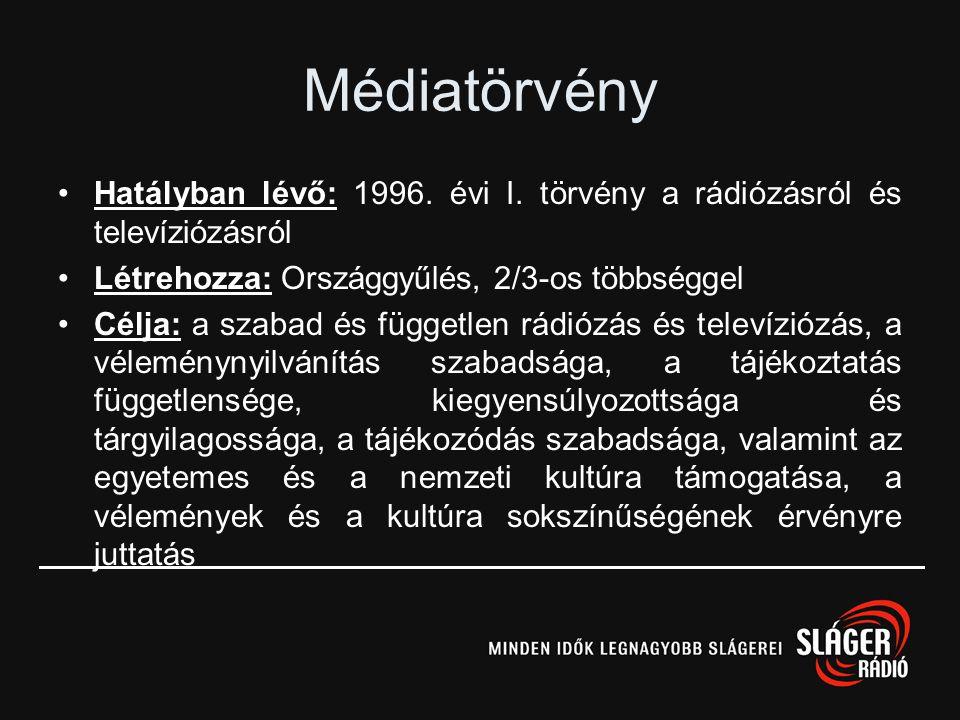 Médiatörvény •Hatályban lévő: 1996.évi I.