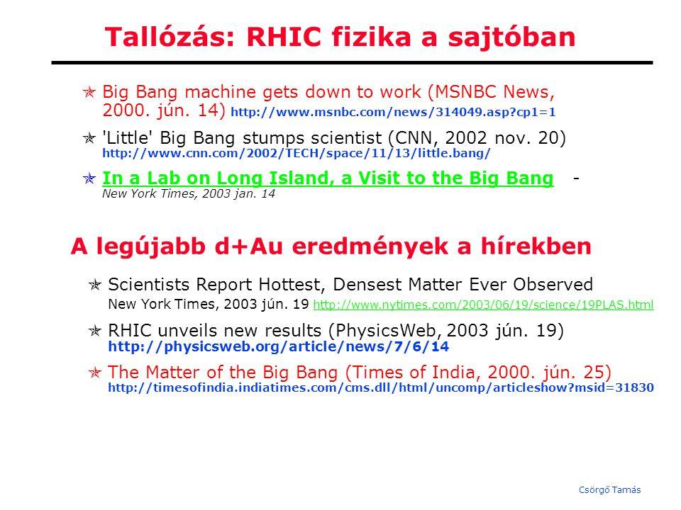 Csörgő Tamás Tallózás: RHIC fizika a sajtóban  Big Bang machine gets down to work (MSNBC News, 2000.