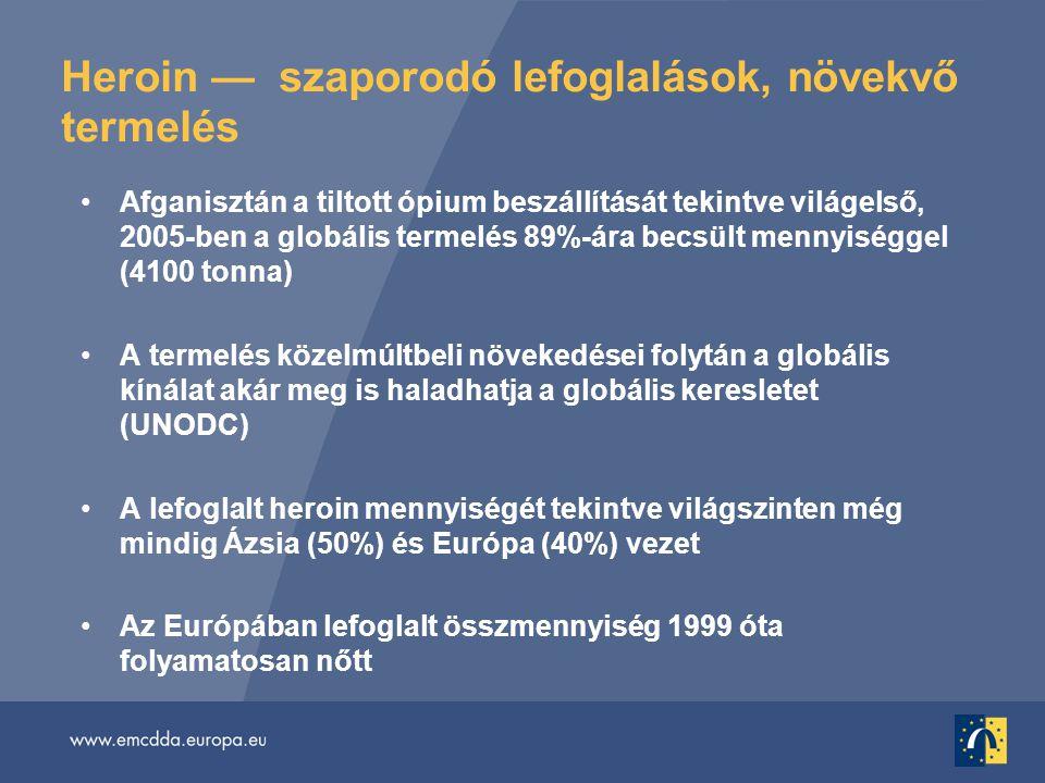 Heroin — szaporodó lefoglalások, növekvő termelés •Afganisztán a tiltott ópium beszállítását tekintve világelső, 2005-ben a globális termelés 89%-ára becsült mennyiséggel (4100 tonna) •A termelés közelmúltbeli növekedései folytán a globális kínálat akár meg is haladhatja a globális keresletet (UNODC) •A lefoglalt heroin mennyiségét tekintve világszinten még mindig Ázsia (50%) és Európa (40%) vezet •Az Európában lefoglalt összmennyiség 1999 óta folyamatosan nőtt