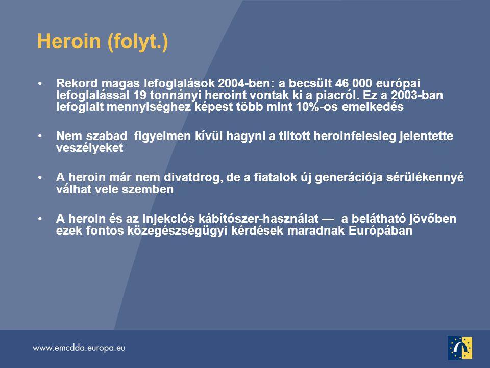 Heroin (folyt.) •Rekord magas lefoglalások 2004-ben: a becsült 46 000 európai lefoglalással 19 tonnányi heroint vontak ki a piacról.