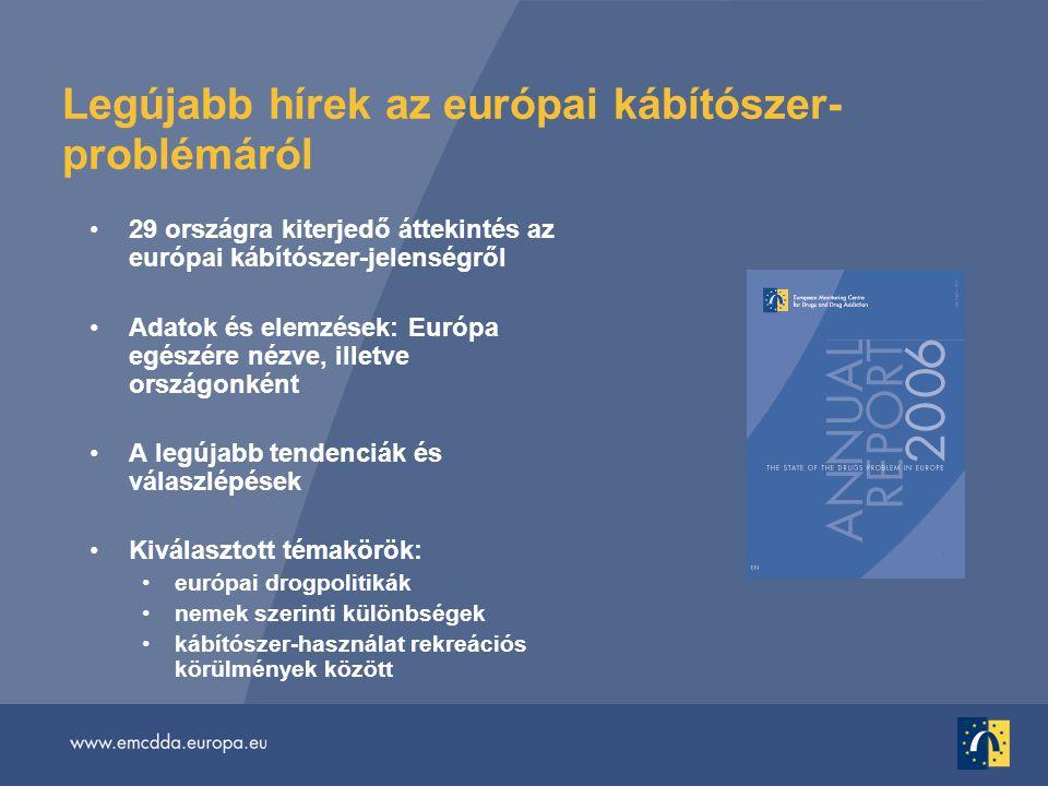 Legújabb hírek az európai kábítószer- problémáról •29 országra kiterjedő áttekintés az európai kábítószer-jelenségről •Adatok és elemzések: Európa egészére nézve, illetve országonként •A legújabb tendenciák és válaszlépések •Kiválasztott témakörök: •európai drogpolitikák •nemek szerinti különbségek •kábítószer-használat rekreációs körülmények között