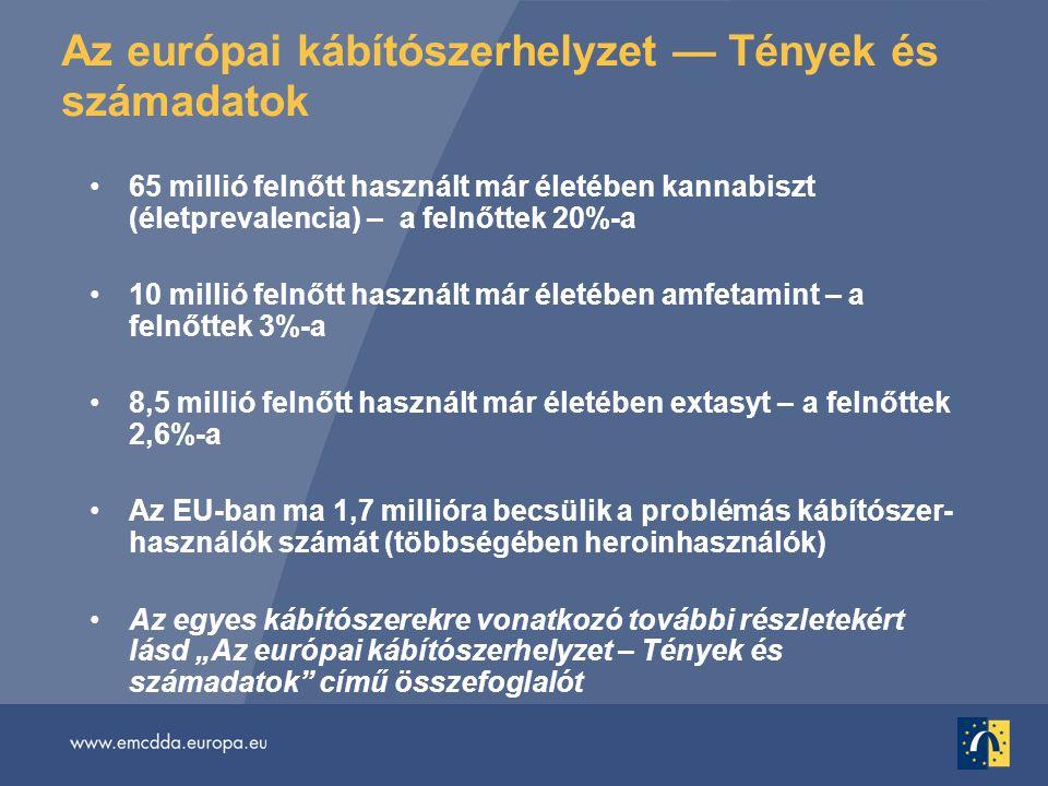 """Az európai kábítószerhelyzet — Tények és számadatok •65 millió felnőtt használt már életében kannabiszt (életprevalencia) – a felnőttek 20%-a •10 millió felnőtt használt már életében amfetamint – a felnőttek 3%-a •8,5 millió felnőtt használt már életében extasyt – a felnőttek 2,6%-a •Az EU-ban ma 1,7 millióra becsülik a problémás kábítószer- használók számát (többségében heroinhasználók) •Az egyes kábítószerekre vonatkozó további részletekért lásd """"Az európai kábítószerhelyzet – Tények és számadatok című összefoglalót"""
