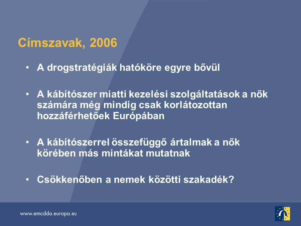Címszavak, 2006 •A drogstratégiák hatóköre egyre bővül •A kábítószer miatti kezelési szolgáltatások a nők számára még mindig csak korlátozottan hozzáférhetőek Európában •A kábítószerrel összefüggő ártalmak a nők körében más mintákat mutatnak •Csökkenőben a nemek közötti szakadék?