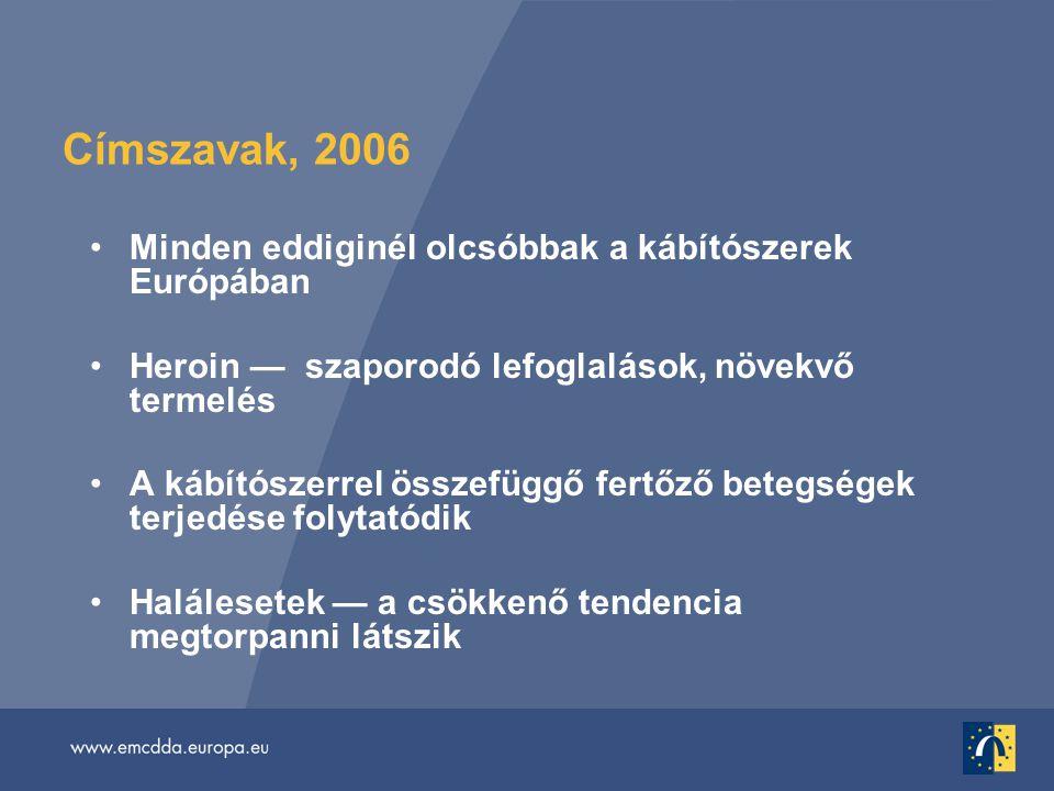 Címszavak, 2006 •Minden eddiginél olcsóbbak a kábítószerek Európában •Heroin — szaporodó lefoglalások, növekvő termelés •A kábítószerrel összefüggő fertőző betegségek terjedése folytatódik •Halálesetek — a csökkenő tendencia megtorpanni látszik