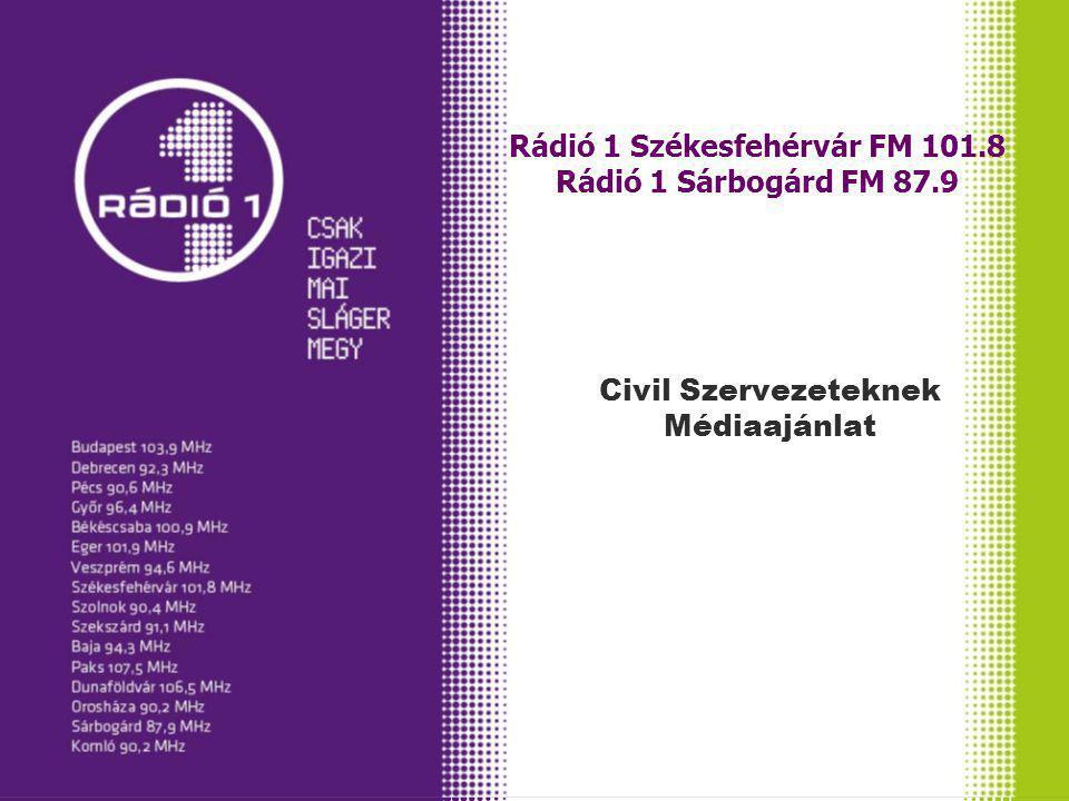 Rádió 1 Székesfehérvár FM 101.8 Rádió 1 Sárbogárd FM 87.9 Civil Szervezeteknek Médiaajánlat