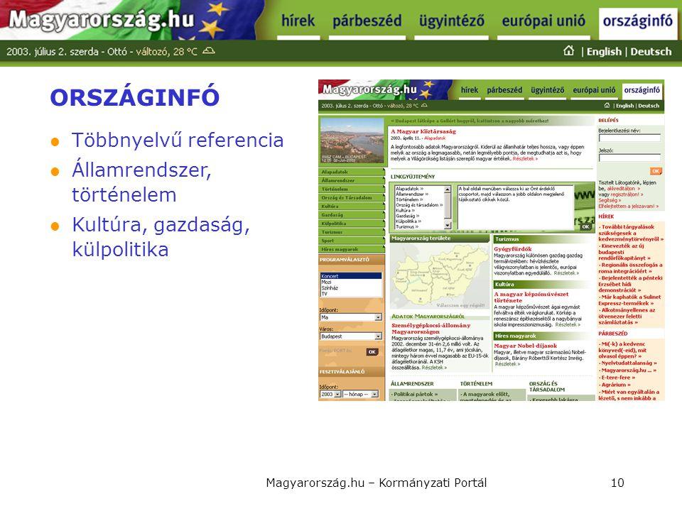 Magyarország.hu – Kormányzati Portál10 ORSZÁGINFÓ  Többnyelvű referencia  Államrendszer, történelem  Kultúra, gazdaság, külpolitika