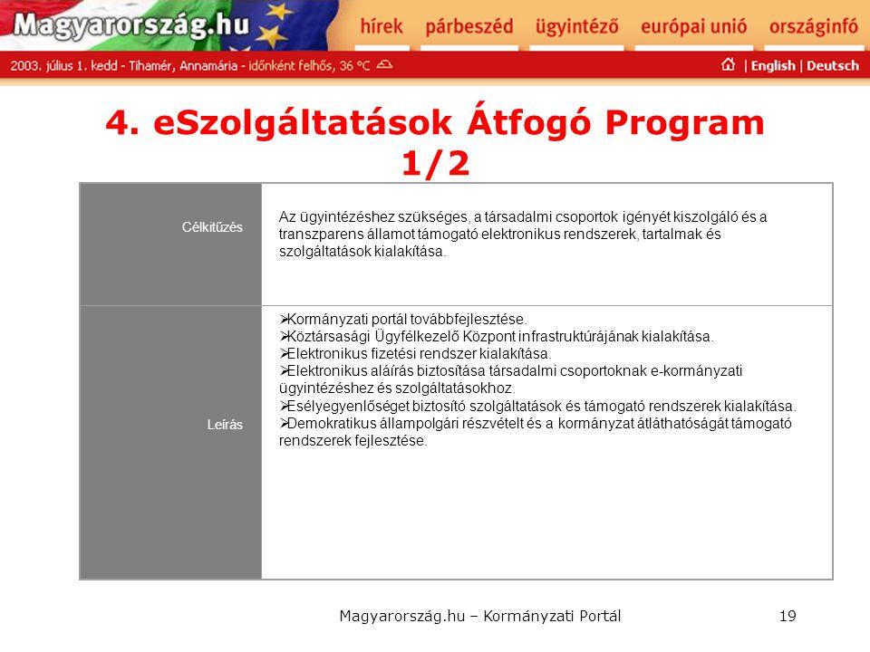 Magyarország.hu – Kormányzati Portál19 4. eSzolgáltatások Átfogó Program 1/2 Célkitűzés Az ügyintézéshez szükséges, a társadalmi csoportok igényét kis