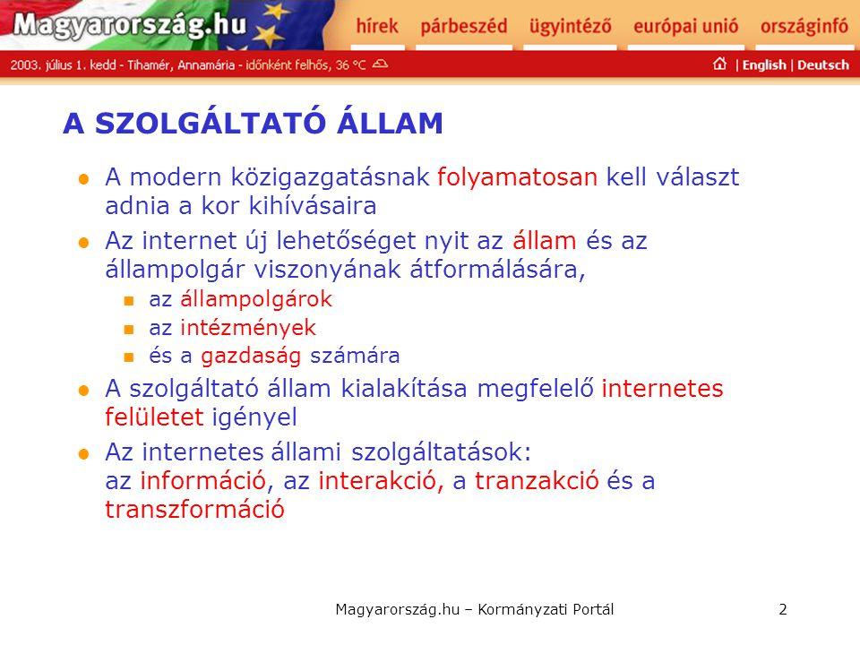 Magyarország.hu – Kormányzati Portál3 ICT szerepe, fejlettsége Jelenlét Interakció Tranzakció Transzformáció Szervezeti rés: Korábban elszigetelten működő közigazgatási szervek együttműködését igényli.