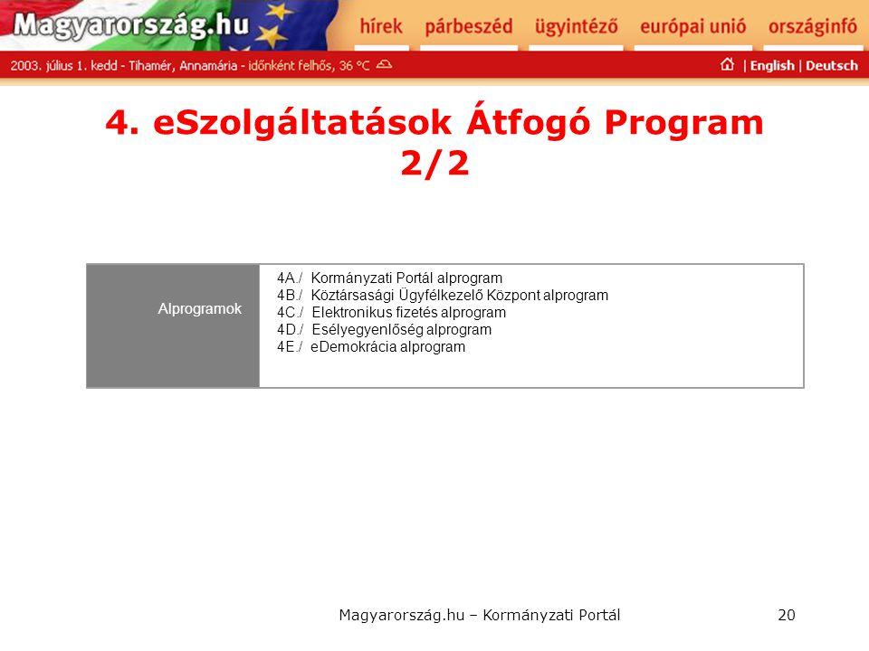 Magyarország.hu – Kormányzati Portál20 4. eSzolgáltatások Átfogó Program 2/2 Alprogramok 4A./ Kormányzati Portál alprogram 4B./ Köztársasági Ügyfélkez