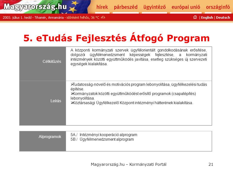 Magyarország.hu – Kormányzati Portál21 5. eTudás Fejlesztés Átfogó Program Célkitűzés A központi kormányzati szervek ügyfélorientált gondolkodásának e