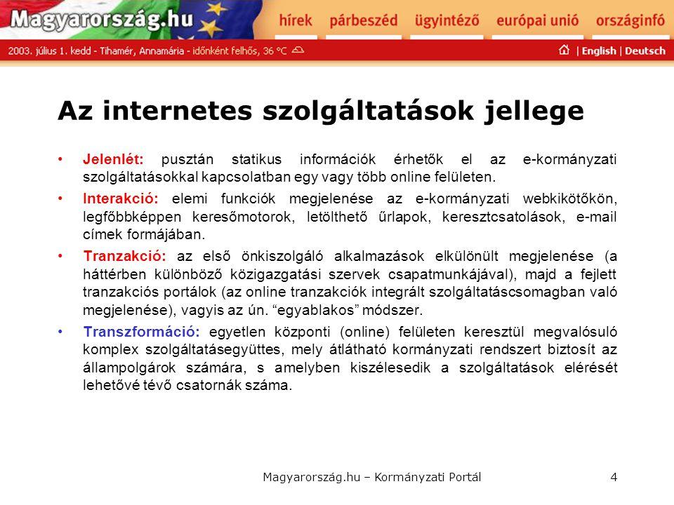 Magyarország.hu – Kormányzati Portál4 Az internetes szolgáltatások jellege • Jelenlét: pusztán statikus információk érhetők el az e-kormányzati szolgá