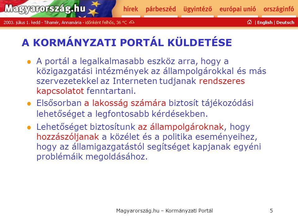 Magyarország.hu – Kormányzati Portál5 A KORMÁNYZATI PORTÁL KÜLDETÉSE  A portál a legalkalmasabb eszköz arra, hogy a közigazgatási intézmények az álla