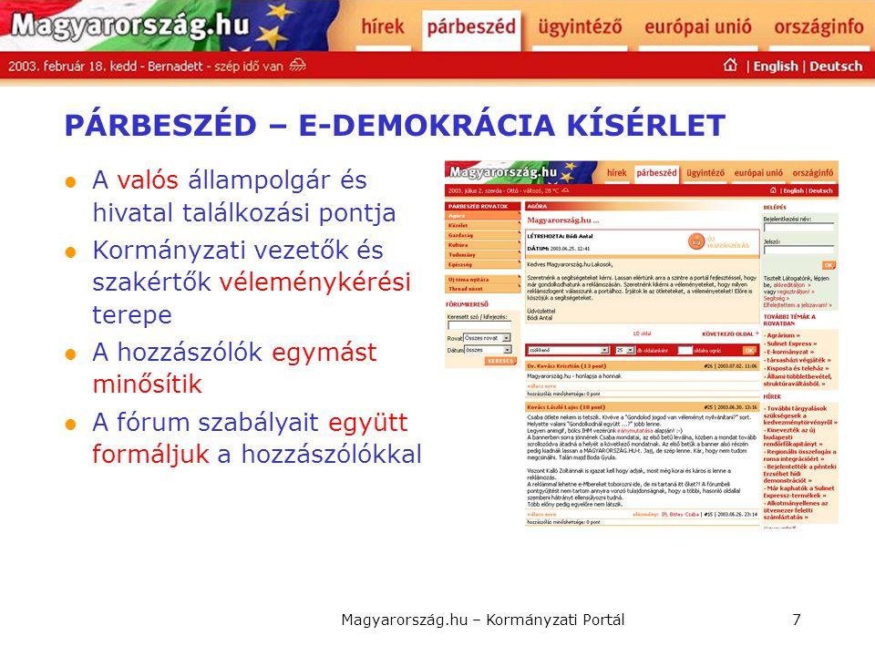 Magyarország.hu – Kormányzati Portál7 PÁRBESZÉD – E-DEMOKRÁCIA KÍSÉRLET  A valós állampolgár és hivatal találkozási pontja  Kormányzati vezetők és s