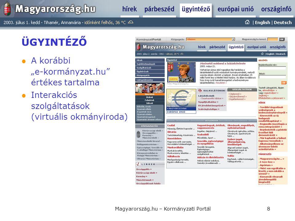 """Magyarország.hu – Kormányzati Portál8 ÜGYINTÉZŐ  A korábbi """"e-kormányzat.hu"""" értékes tartalma  Interakciós szolgáltatások (virtuális okmányiroda)"""