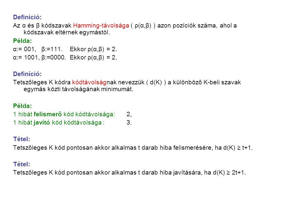 Definíció: Az α és β kódszavak Hamming-távolsága ( ρ(α,β) ) azon pozíciók száma, ahol a kódszavak eltérnek egymástól. Példa: α:= 001, β:=111. Ekkor ρ(