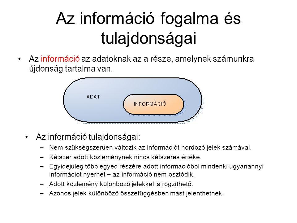 Az információ fogalma és tulajdonságai •Az információ az adatoknak az a része, amelynek számunkra újdonság tartalma van. •Az információ tulajdonságai:
