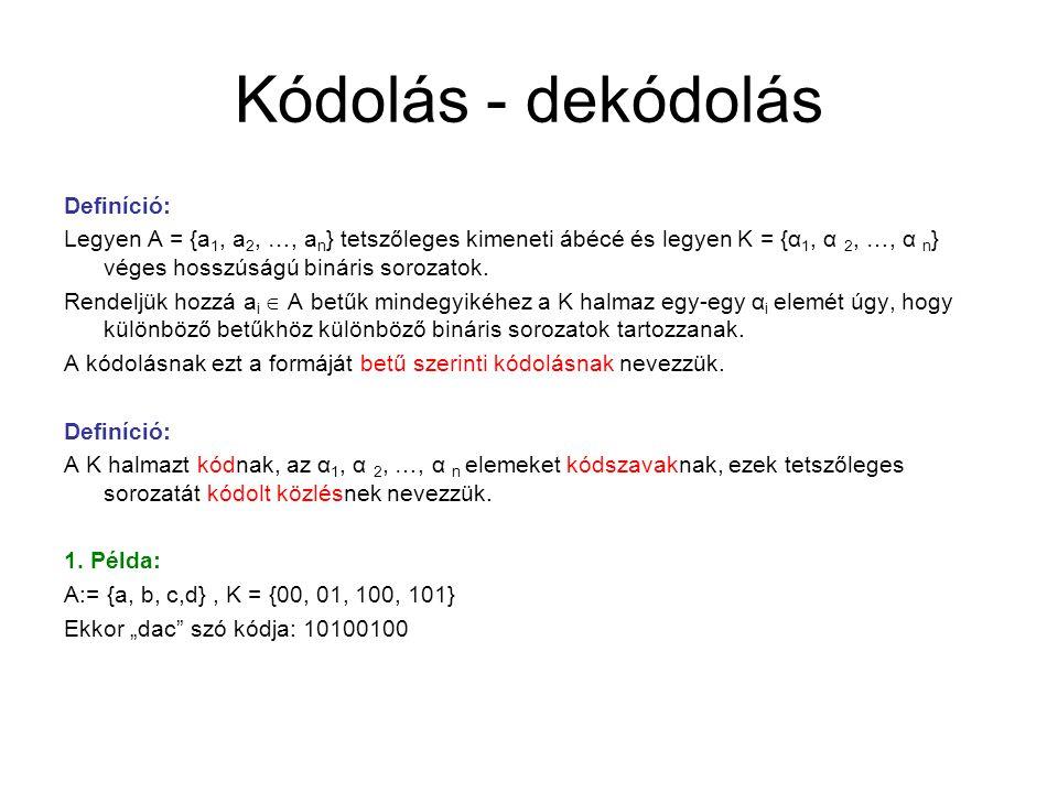 Kódolás - dekódolás Definíció: Legyen A = {a 1, a 2, …, a n } tetszőleges kimeneti ábécé és legyen K = {α 1, α 2, …, α n } véges hosszúságú bináris so