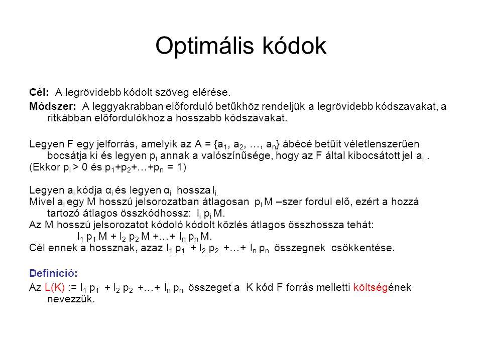 Optimális kódok Cél: A legrövidebb kódolt szöveg elérése. Módszer: A leggyakrabban előforduló betűkhöz rendeljük a legrövidebb kódszavakat, a ritkábba