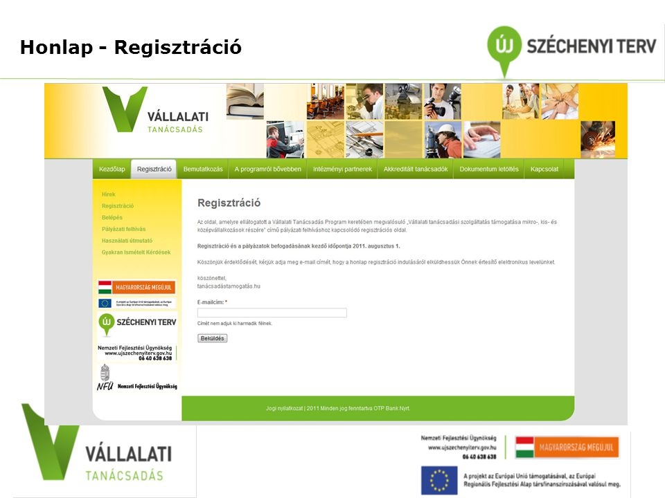 Honlap - Regisztráció