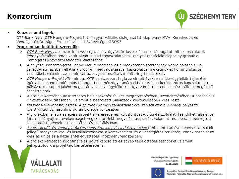 Konzorcium •Konzorciumi tagok: OTP Bank Nyrt, OTP Hungaro-Projekt Kft, Magyar Vállalkozásfejlesztési Alapítvány MVA, Kereskedők és Vendéglátók Országo