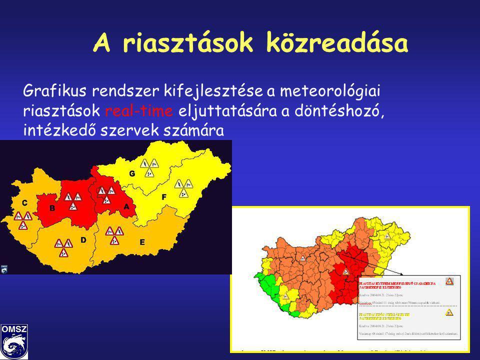 21/86 A riasztások közreadása Grafikus rendszer kifejlesztése a meteorológiai riasztások real-time eljuttatására a döntéshozó, intézkedő szervek számá